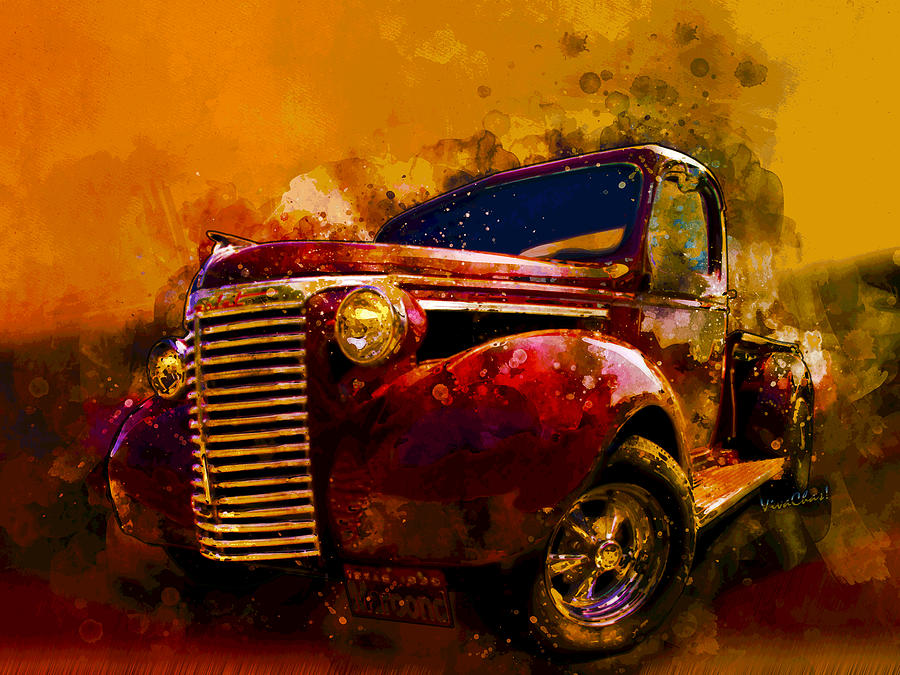 39 Chevy Pickup Watercolor Acid Sky by Chas Sinklier