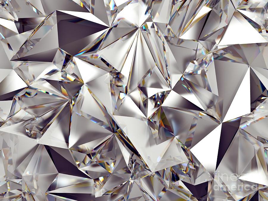 Shadow Digital Art - 3d Abstract Crystal Clear Background by Wacomka