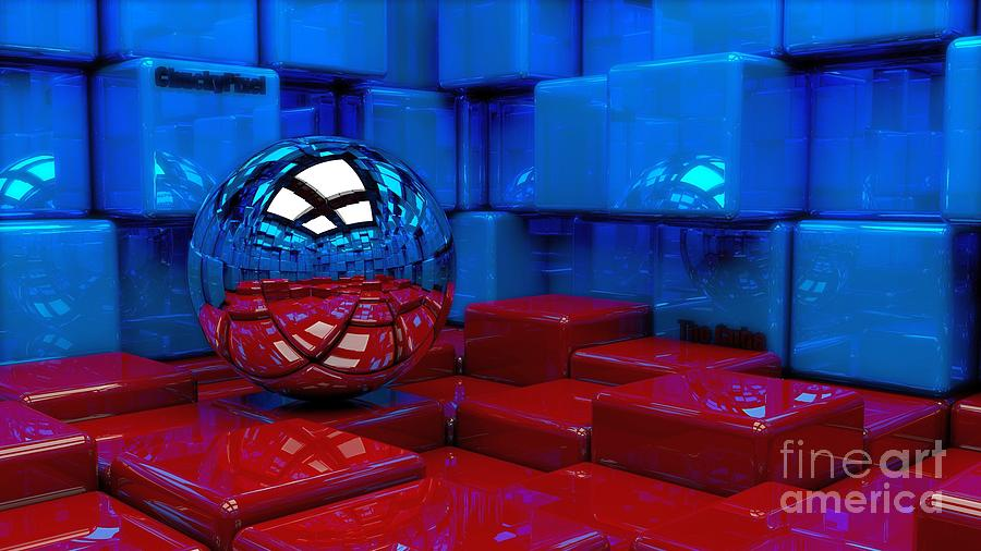 3D Chrome Sphere Ball And Red Blue Cubes Squares Abstract Ultra HD by Hi Res