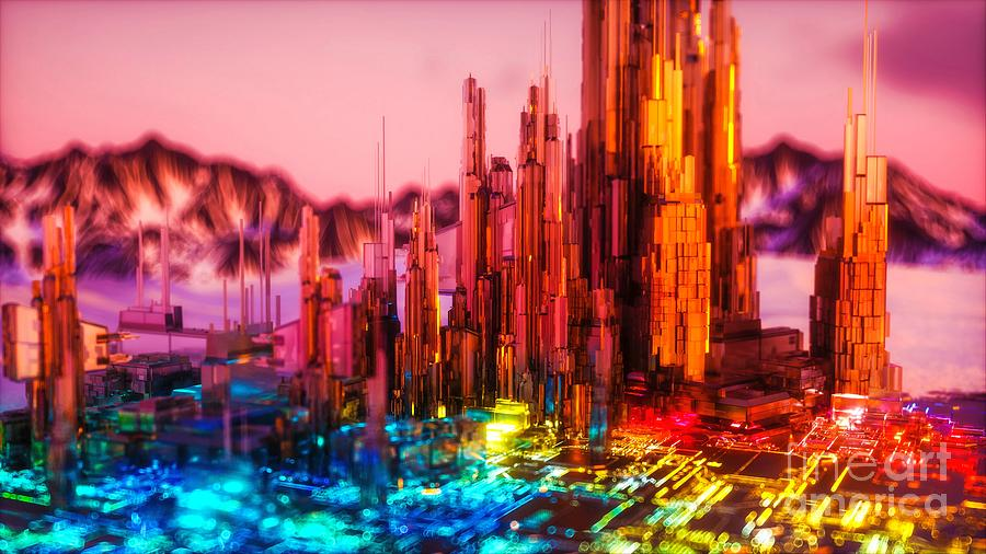 3D Colorful Abstract Cityscape Skyline Ultra HD by Hi Res