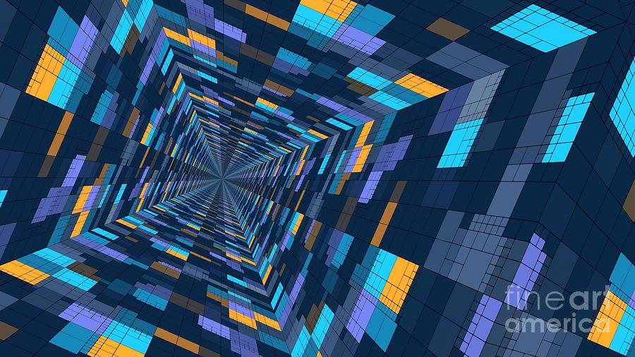 3D Colorful Checkered Abstract Geometric Tunnel Ultra HD by Hi Res