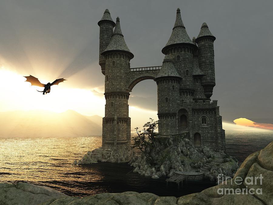 Fantasy Digital Art - 3d Illustration Fantasy Landscape With by E71lena