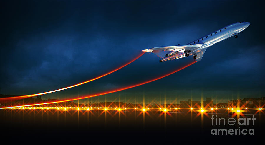 Plane Digital Art - 3d Illustration Of An Aircraft At Take by Egorov Artem