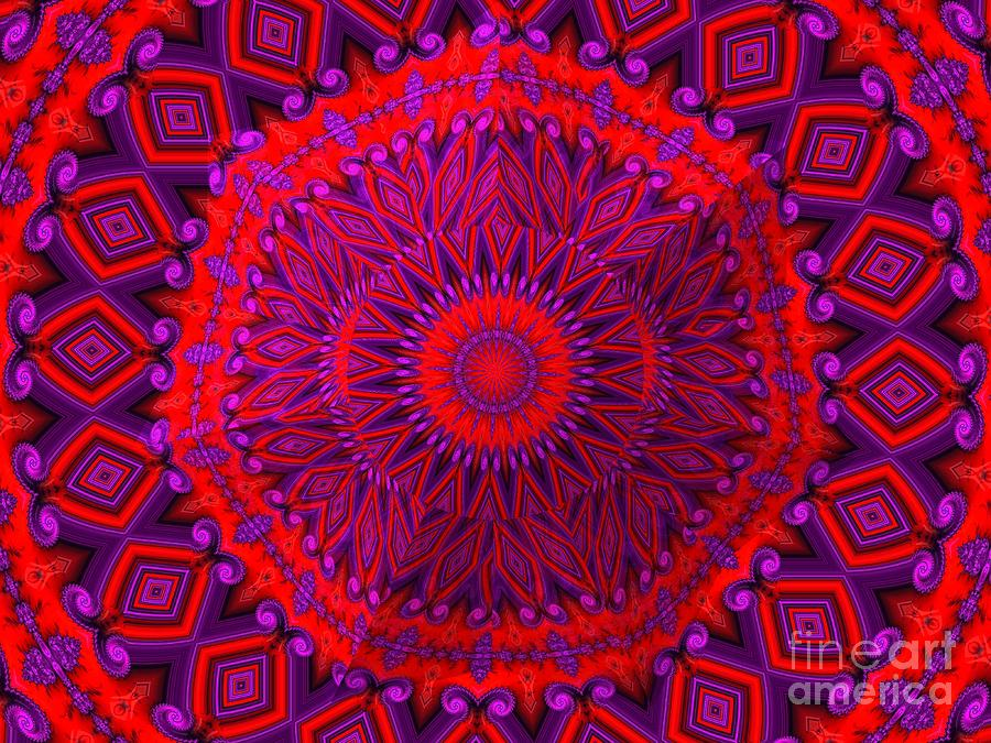 3D Look Indian Blanket Fractal Abstract by Rose Santuci-Sofranko