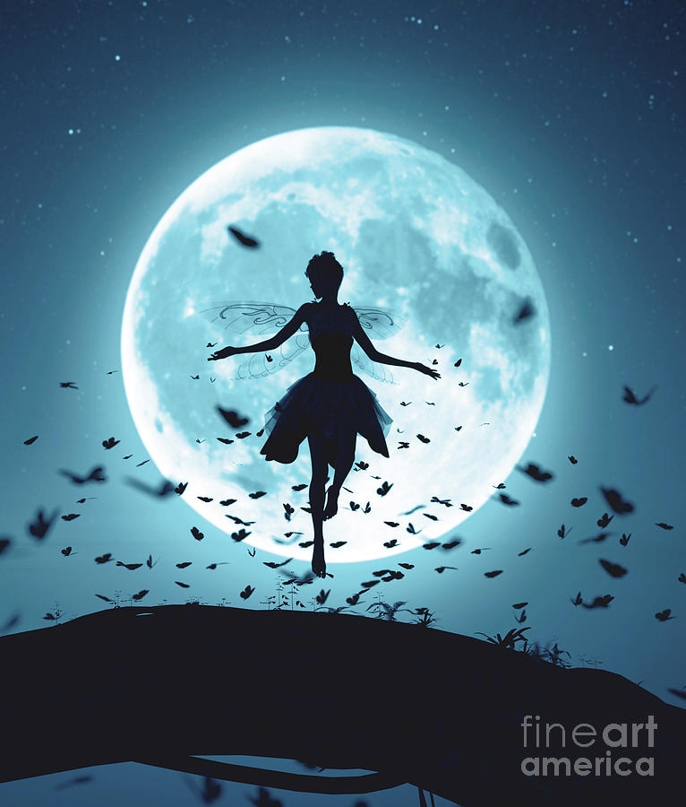 Framed Print Fairy Flying in the Moonlight Picture Fantasy Mythical Art