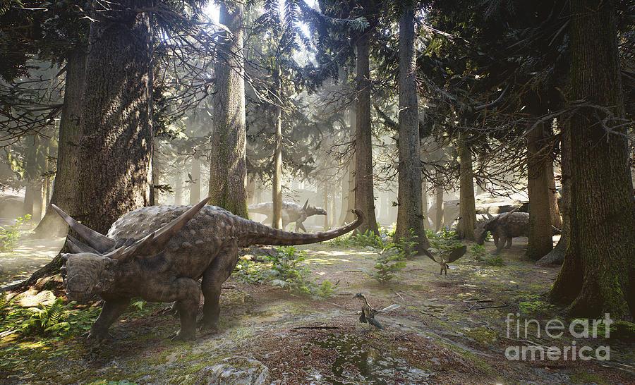 Paleobiology Digital Art - 3d Rendering Of A Herd Of Sauropelta by Herschel Hoffmeyer