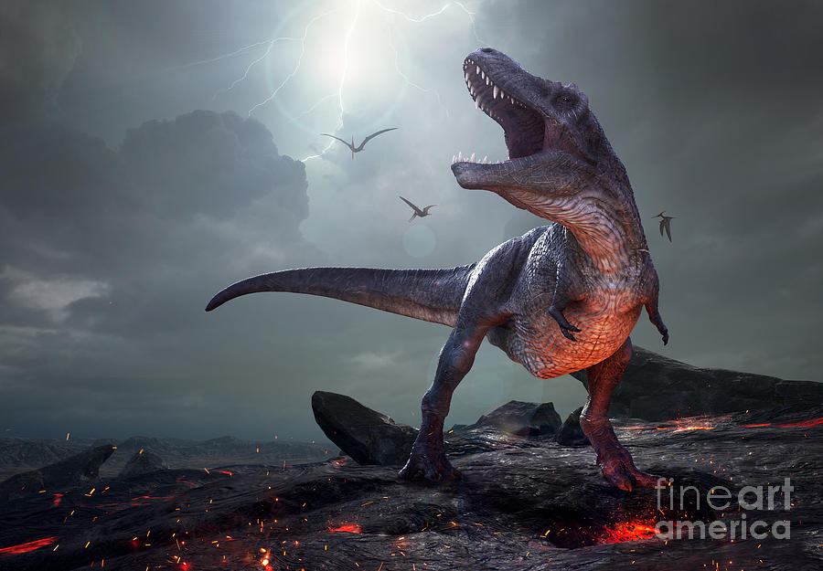 Strength Digital Art - 3d Rendering Of Tyrannosaurus Rex Near by Herschel Hoffmeyer