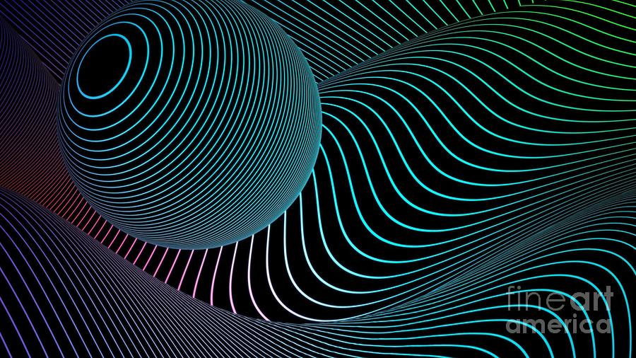 3D Sphere And Waves Of Lines Geometric Abstract Ultra HD by Hi Res