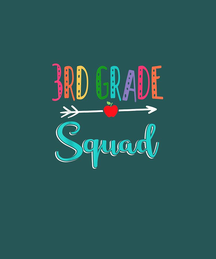 3rd Digital Art - 3rd Grade Squad Teacher Back To School Tshirt by Unique Tees