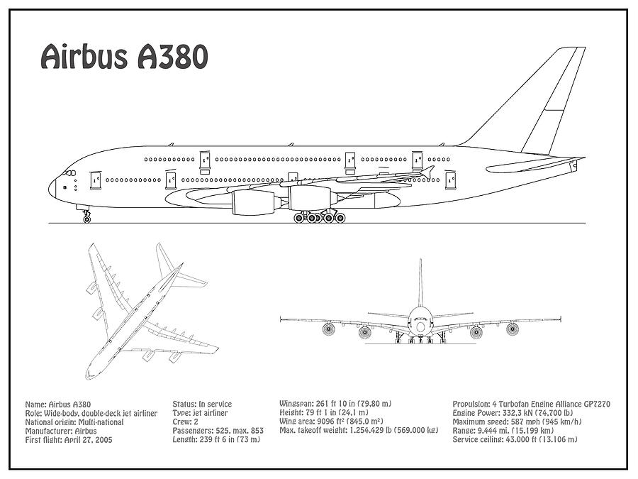 airbus a380 - airplane blueprint  drawing plans or schematics with design  outline for the airbus a38