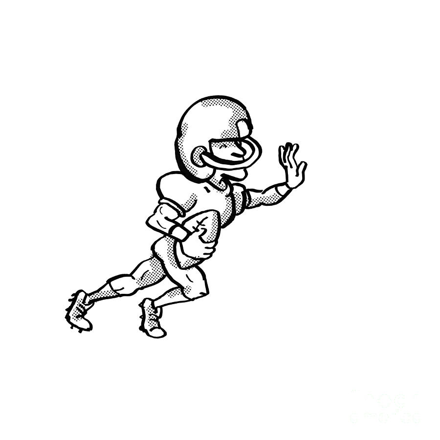 Cartoon Digital Art - American Football Player Cartoon Black And White by Aloysius Patrimonio