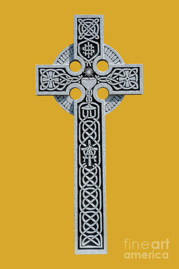 An ornate granite Celtic cross from the grave of a Roman Catholi by Amy Cicconi