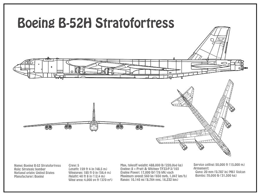 B-52 Stratofortress - Airplane Blueprint. Drawing Plans Or Schematics