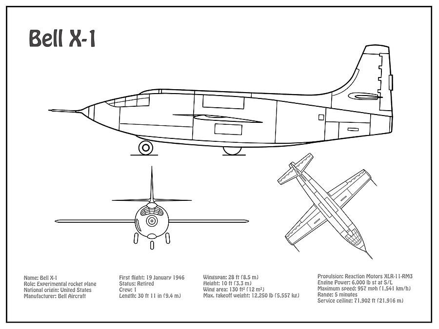 Bell X-1 - Airplane Blueprint. Drawing Plans Or Schematics With Design Airplane Schematics on