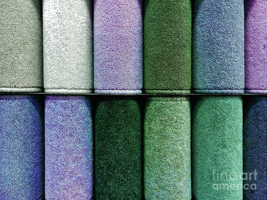 Colourful carpet samples by Tom Gowanlock