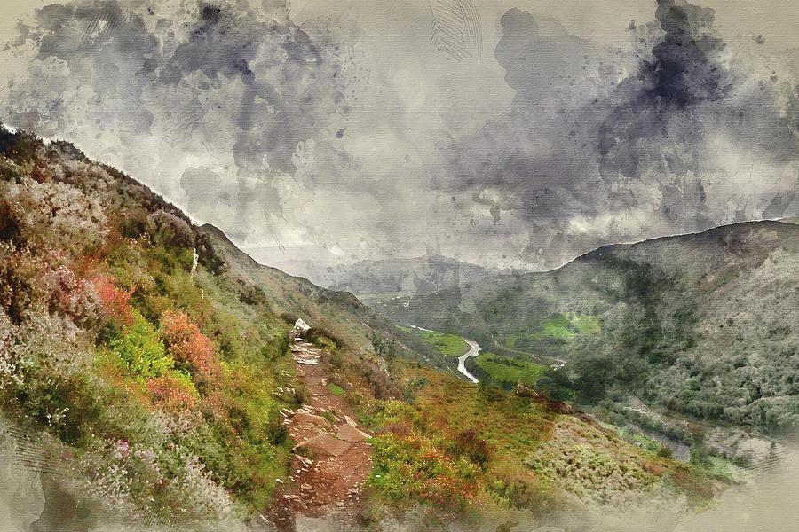 Landscape Photograph - Digital Watercolor Painting Of Landscape Image Of View From Prec by Matthew Gibson