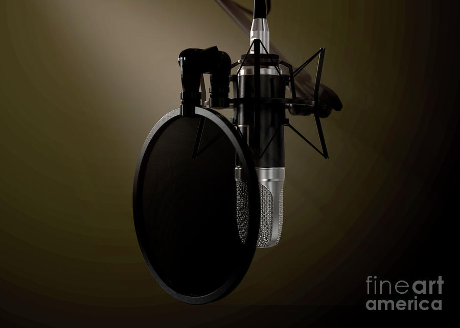 Microphone Digital Art - Dramatic Condenser Microphone by Allan Swart