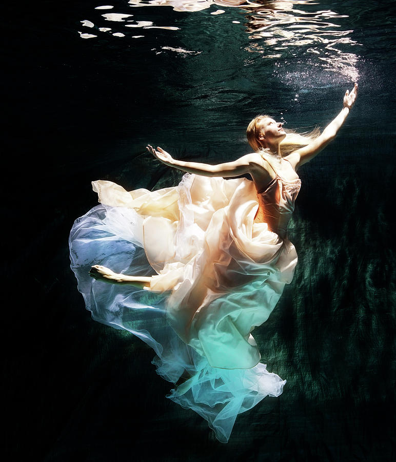 Ballet Dancer Photograph - Female Dancer Performing Under Water by Henrik Sorensen