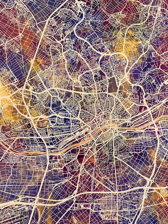 Frankfurt Digital Art - Frankfurt Germany City Map by Michael Tompsett