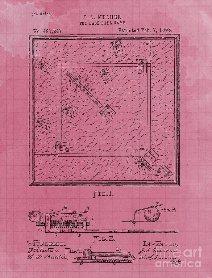 Game Board Vintage Patent Year 1892 Vintage Art Print Drawing