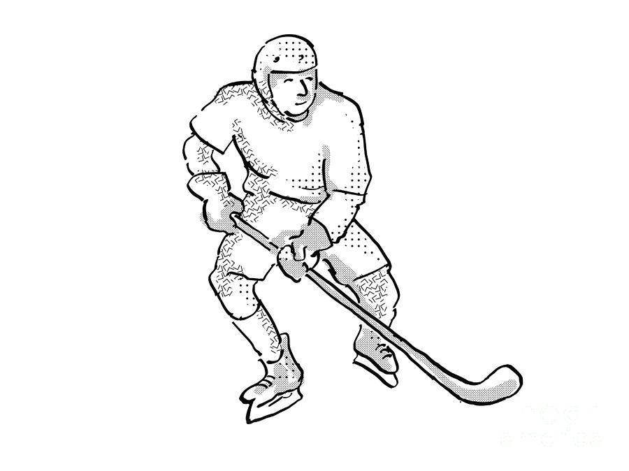 Ice Hockey Player Cartoon Isolated Digital Art By Aloysius Patrimonio