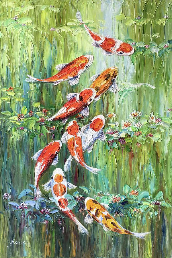 Koi Fish Painting - Koi Fish by Enxu Zhou
