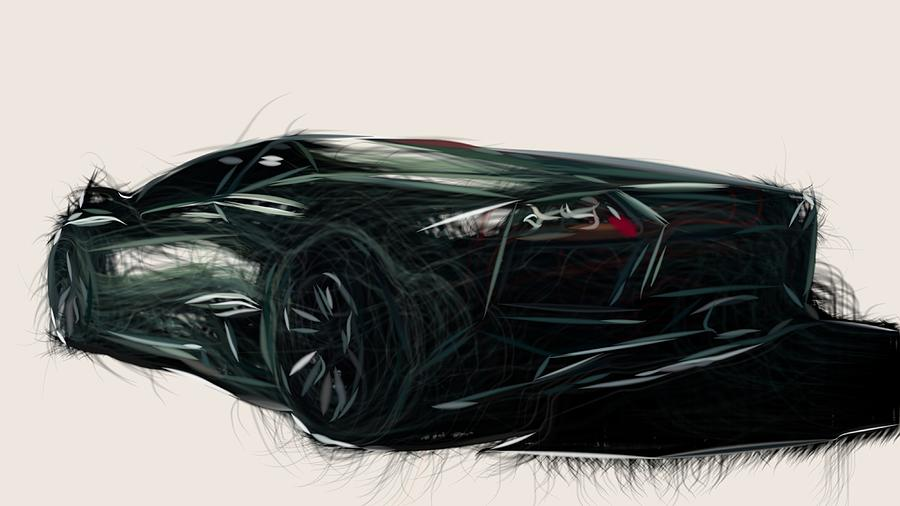 Lamborghini Reventon Draw Digital Art By Carstoon Concept