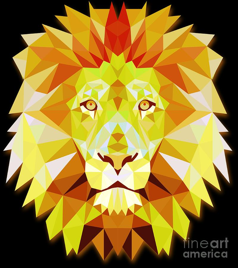 Animal Welfare Digital Art - Lion Head Polygonal Abstract Colors Leo King Gift  by Haselshirt