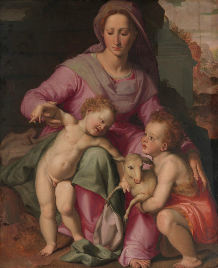 Italian Painters Painting - Madonna And Child With The Infant Saint John The Baptist by Santi di Tito