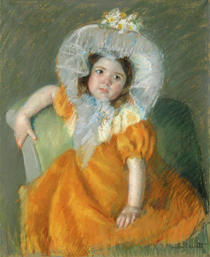 Margot in Orange Dress. by Mary Cassatt