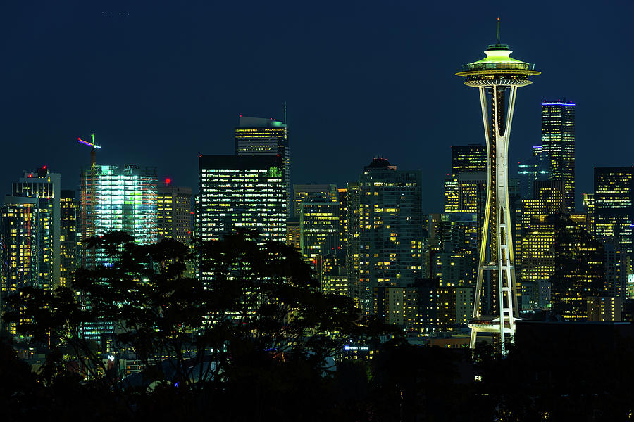 Night View Of The Seattle Skyline With The Space Needle And Other Iconic Buildings In The Background Photograph