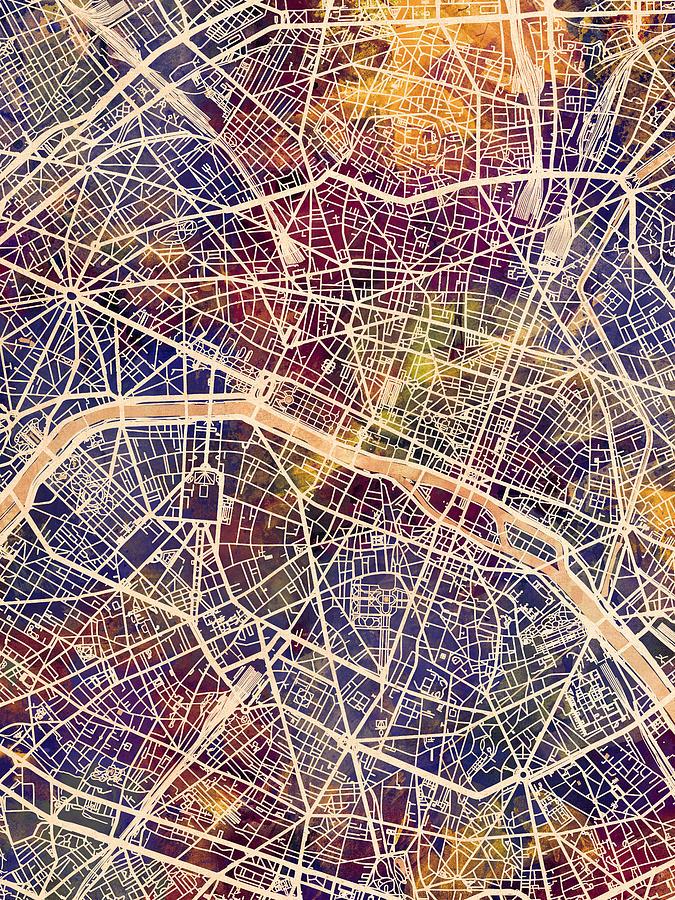 Paris France City Map Digital Art by Michael Tompsett on