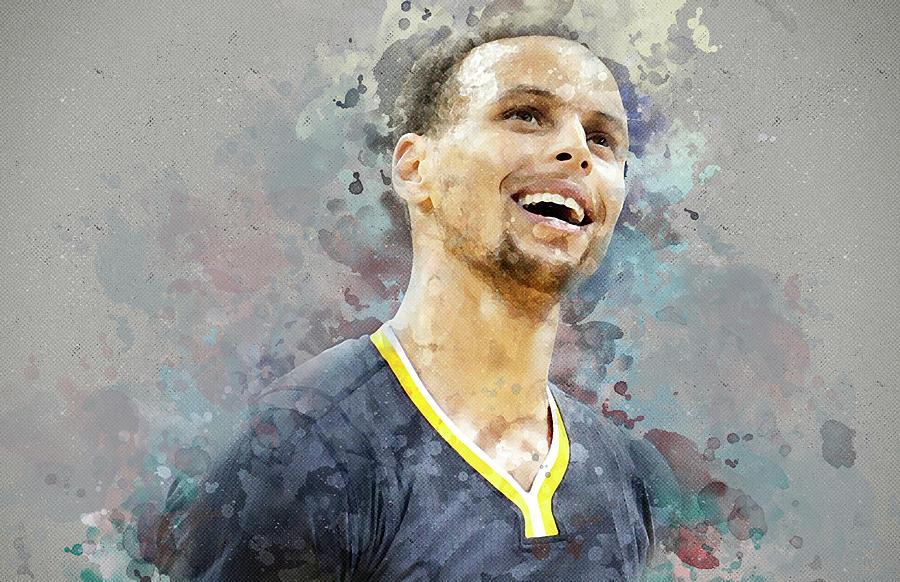 Stephen Curry Digital Art - Portrait Of Stephen Curry by Nadezhda Zhuravleva