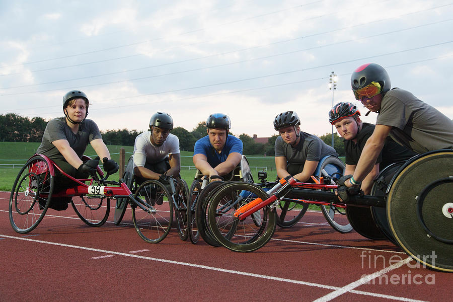Ambition Photograph - Portrait Paraplegic Athletes Training For Wheelchair Race by Caia Image/science Photo Library