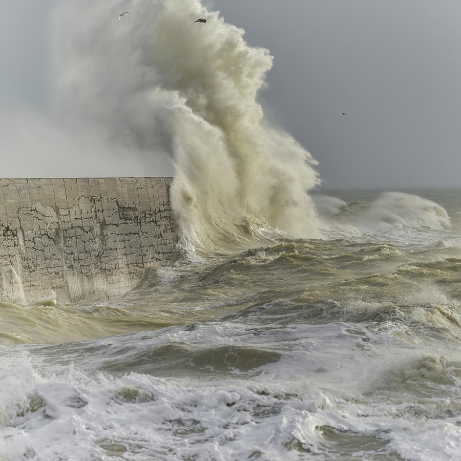 Landscape Photograph - Stunning Dangerous High Waves Crashing Over Harbor Wall During W by Matthew Gibson