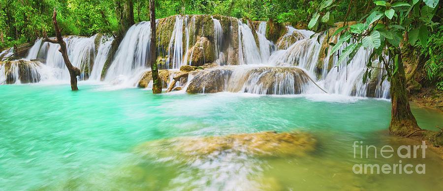 Tat Sae Waterfalls. Beautiful Landscape, Laos. Panorama Photograph