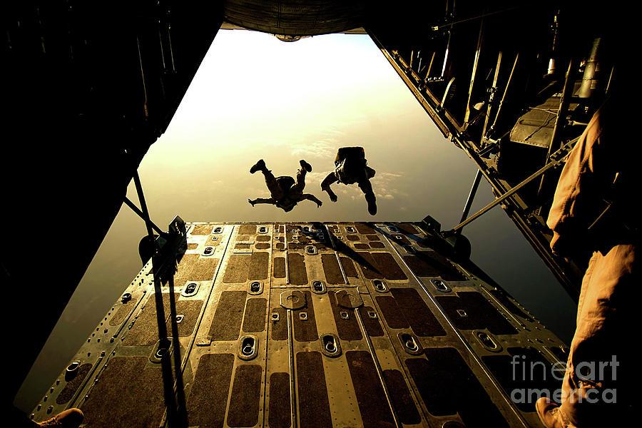 U.s. Air Force Pararescuemen Jump Photograph by Stocktrek Images
