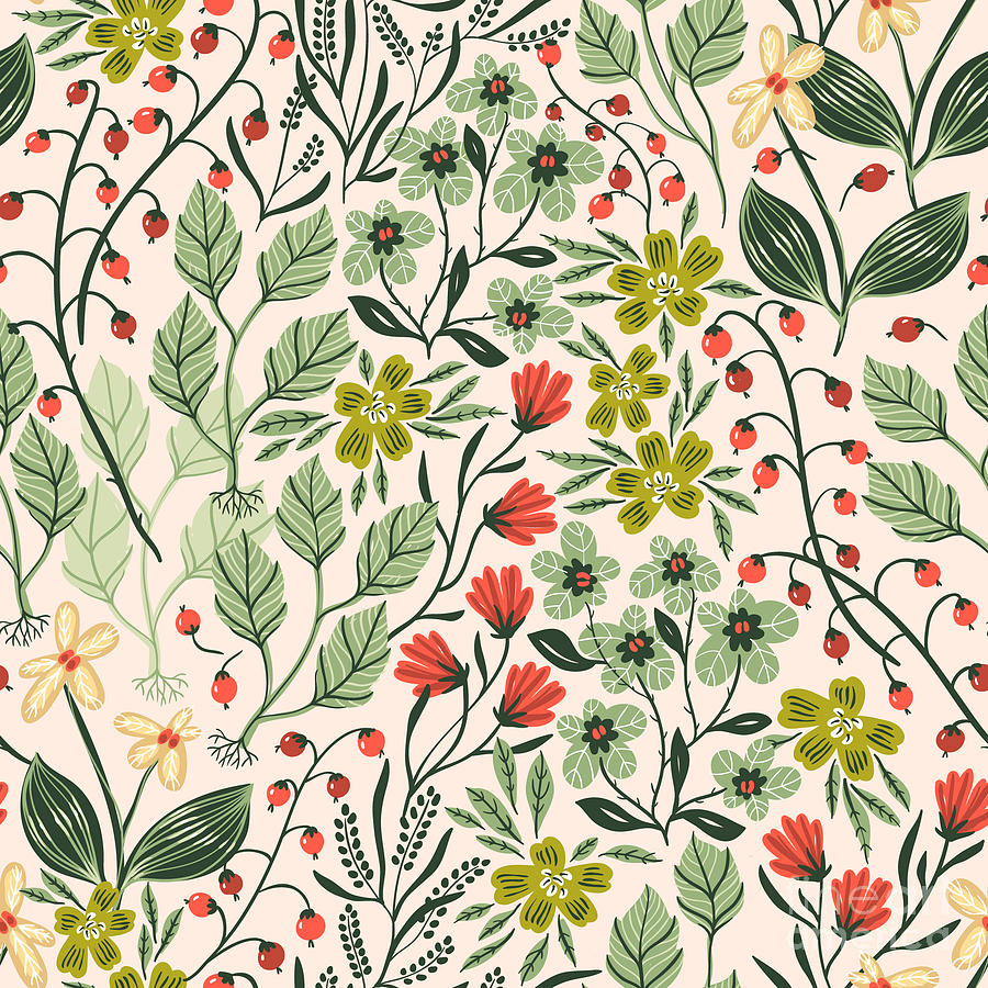 Berry Digital Art - Vector Floral Seamless Pattern by Anna Paff
