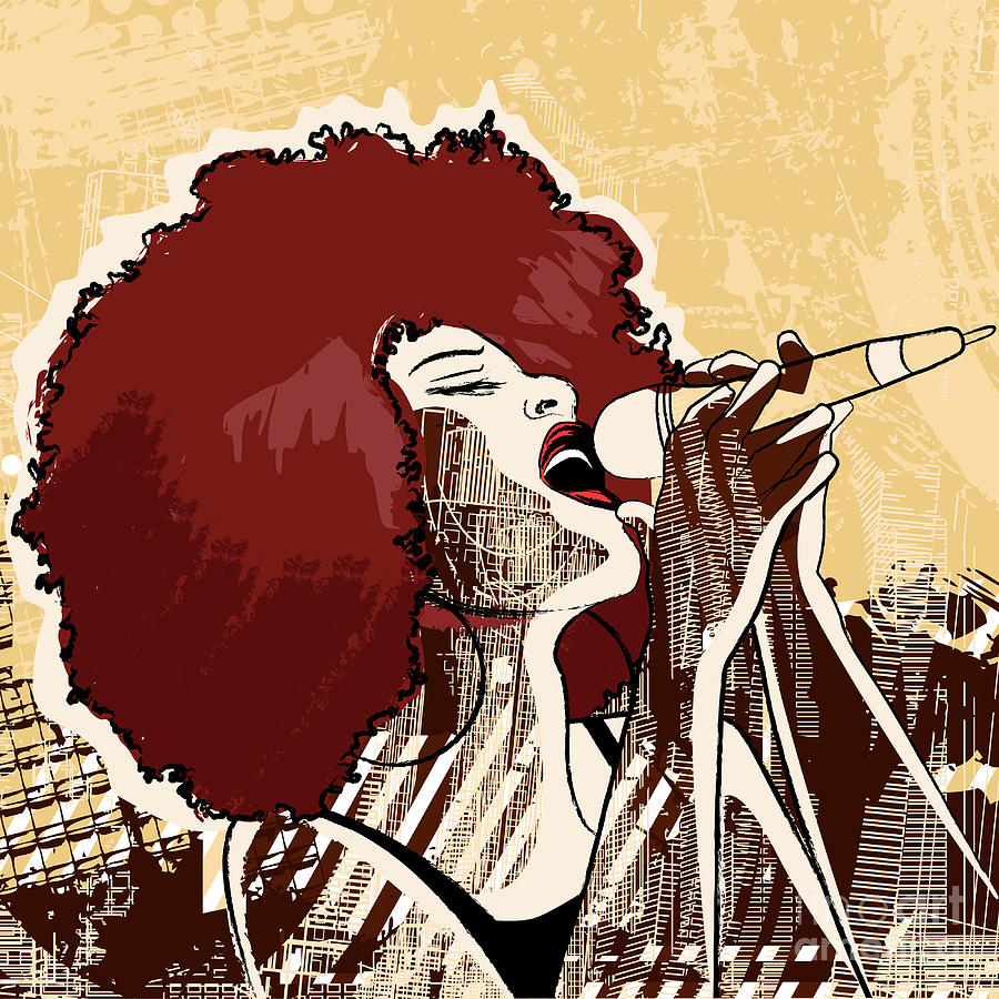 Voice Digital Art - Vector Illustration Of An Afro American by Isaxar