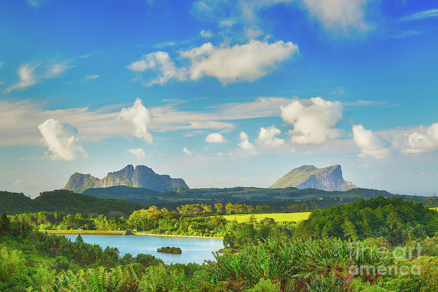 View Of A Lake And Mountains. Mauritius. Panorama Photograph