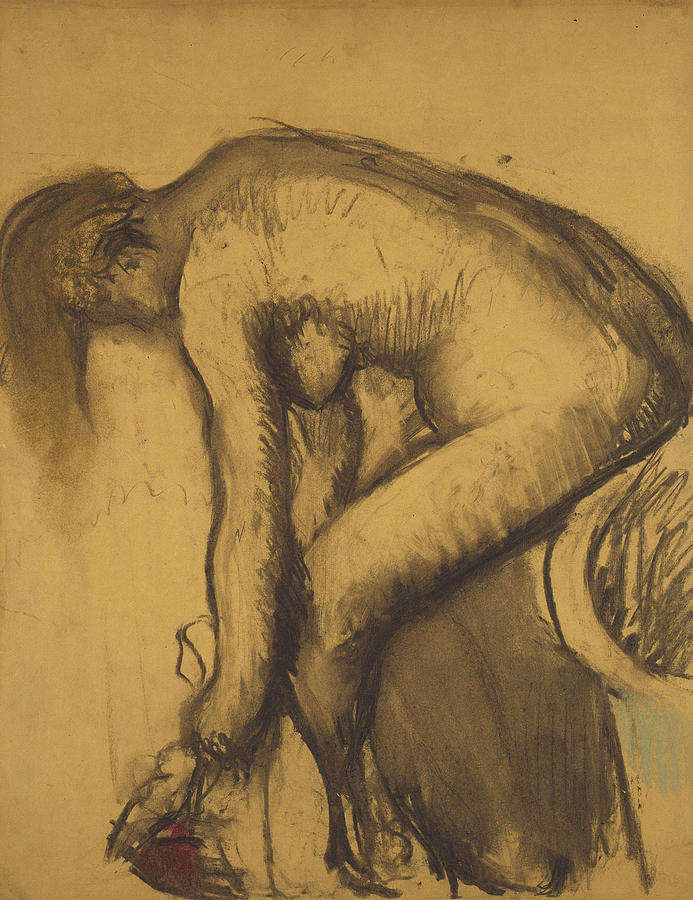 French Painters Drawing - After The Bath by Edgar Degas