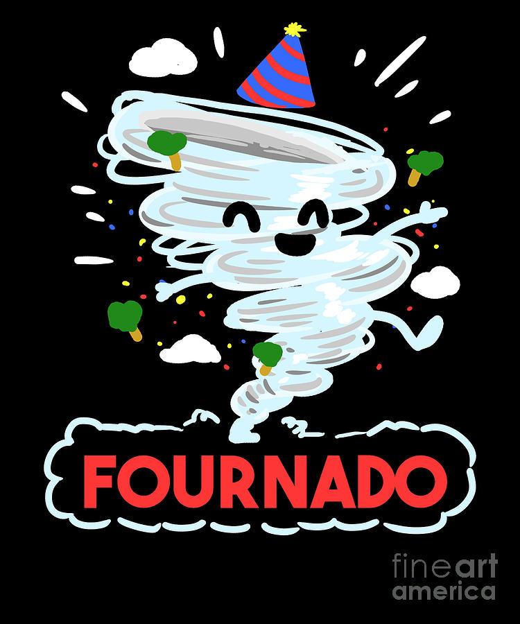 4th Birthday Four Boy Girl 4 Fournado Gift Digital Art By Teequeen2603