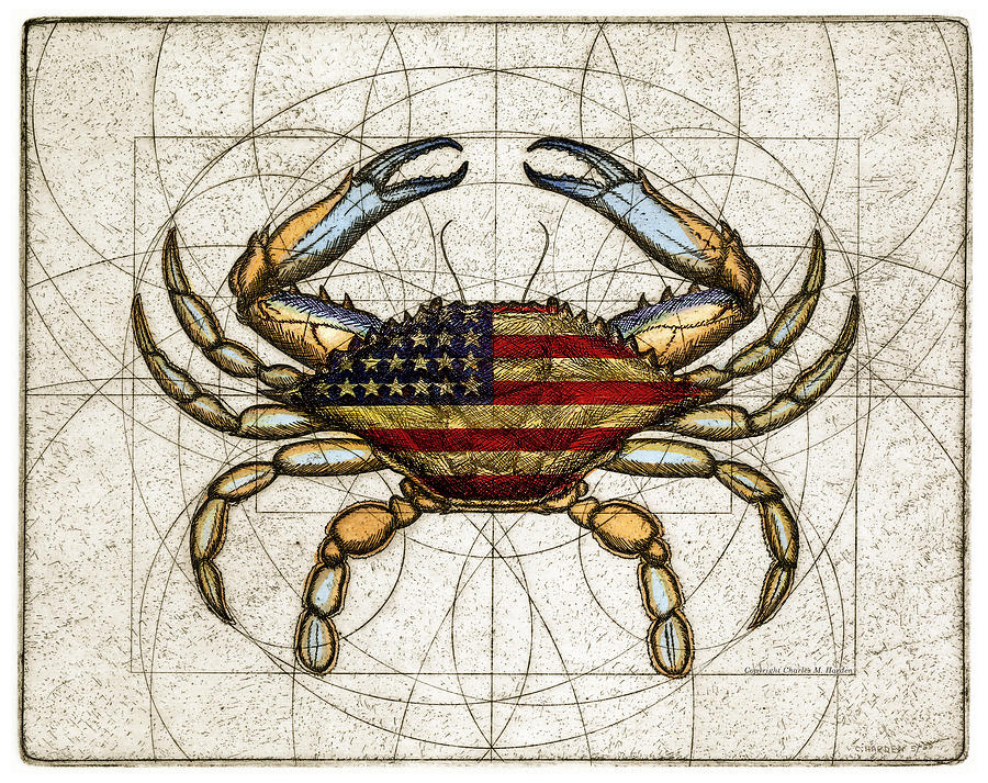 Maryland Mixed Media - 4th Of July Crab by Charles Harden