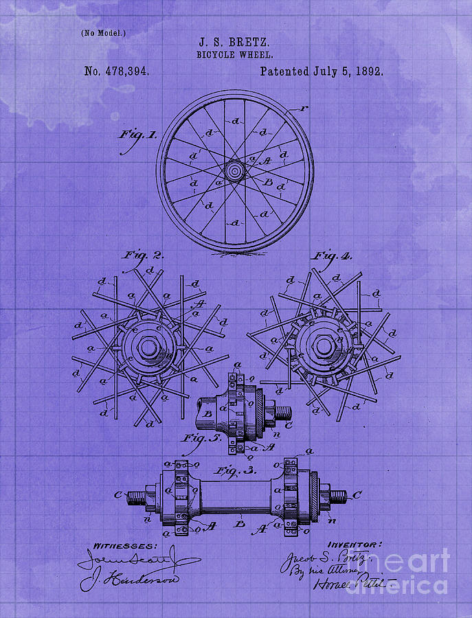 Bycicle Wheel Patent Year 1892 Vintage Art Print Drawing