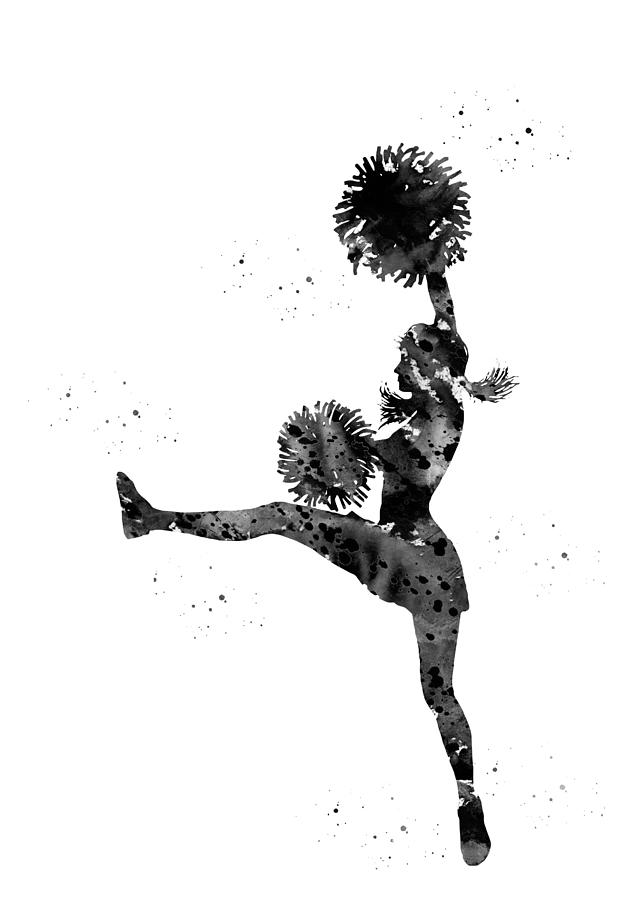 Cheerleader Digital Art - Cheerleader With Pompoms by Erzebet S