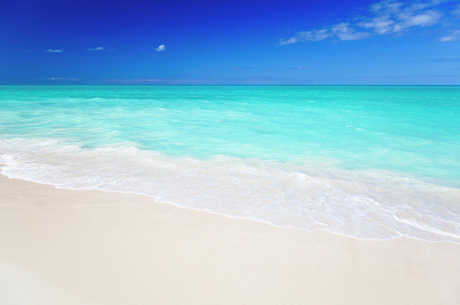 Clean White Caribbean Beach With Blue Photograph by Michaelutech
