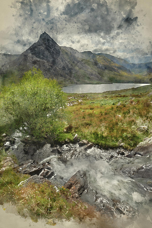 Landscape Photograph - Digital Watercolor Painting Of Stunning Landscape Image Of Count by Matthew Gibson