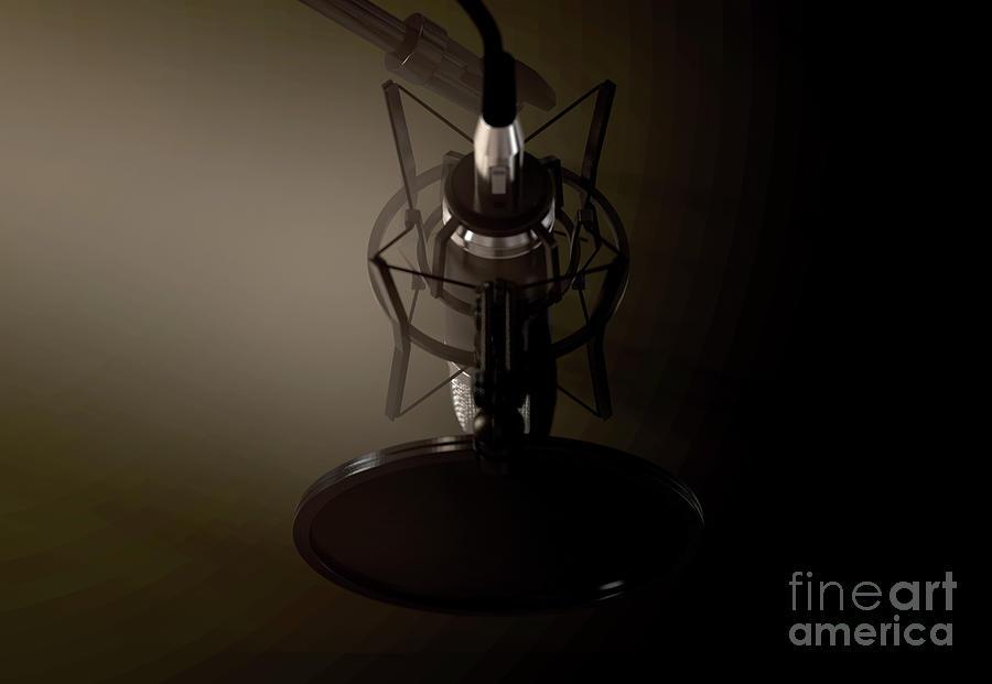 Microphone Digital Art - Dramatic Condenser Microphone 5 by Allan Swart
