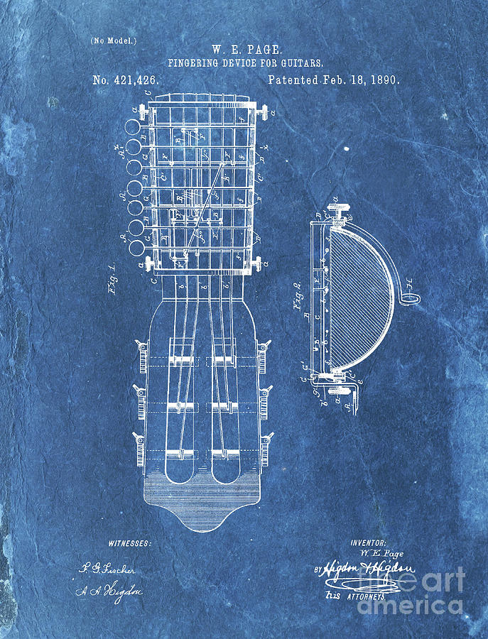 Patent Drawing - Fingering Device For Guitars Patent Year 1890 by Drawspots Illustrations