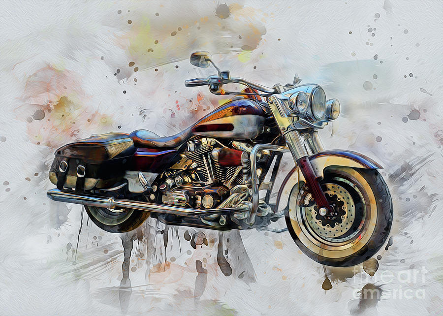 Motorbike Drawing - Harley Davidson by Ian Mitchell